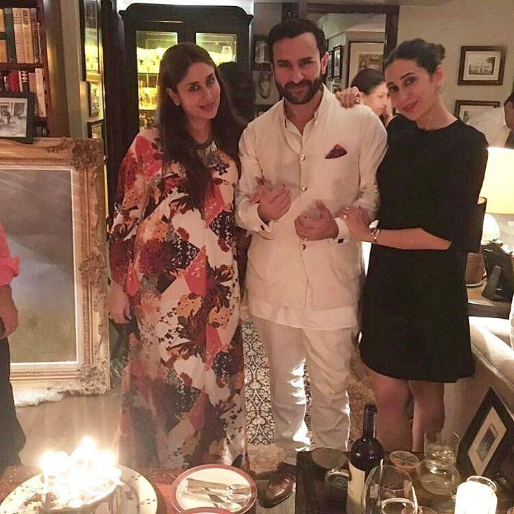 Saif Ali Khan birthday Celebrating With Cute Wife Pregnant Kareena Kapoor Khan