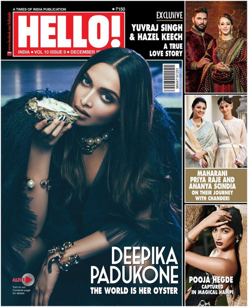 Deepika Padukone on the cover of Hello! India magazine (Dec 2016)